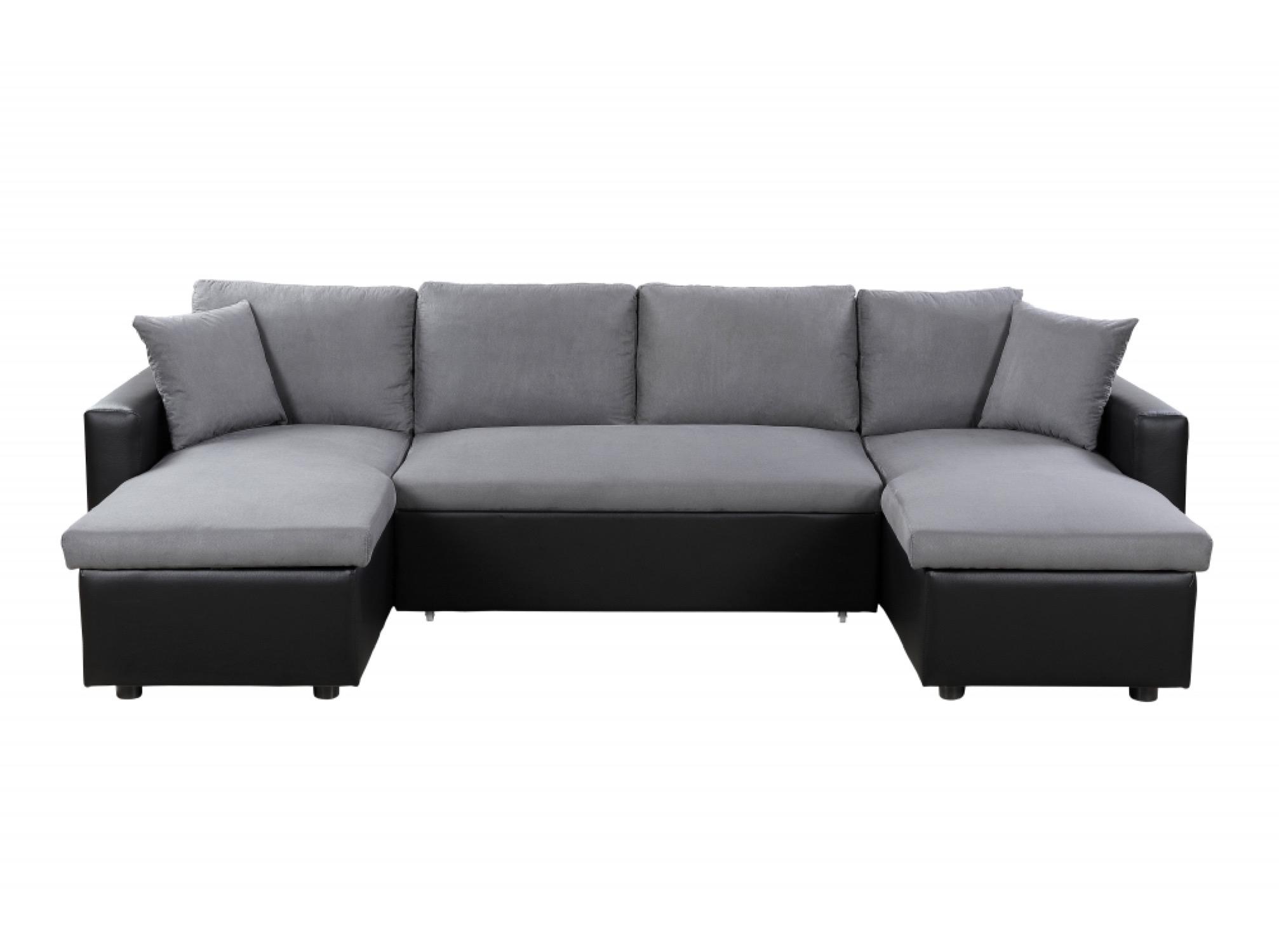 Canapé d'angle panoramique convertible gris et noir