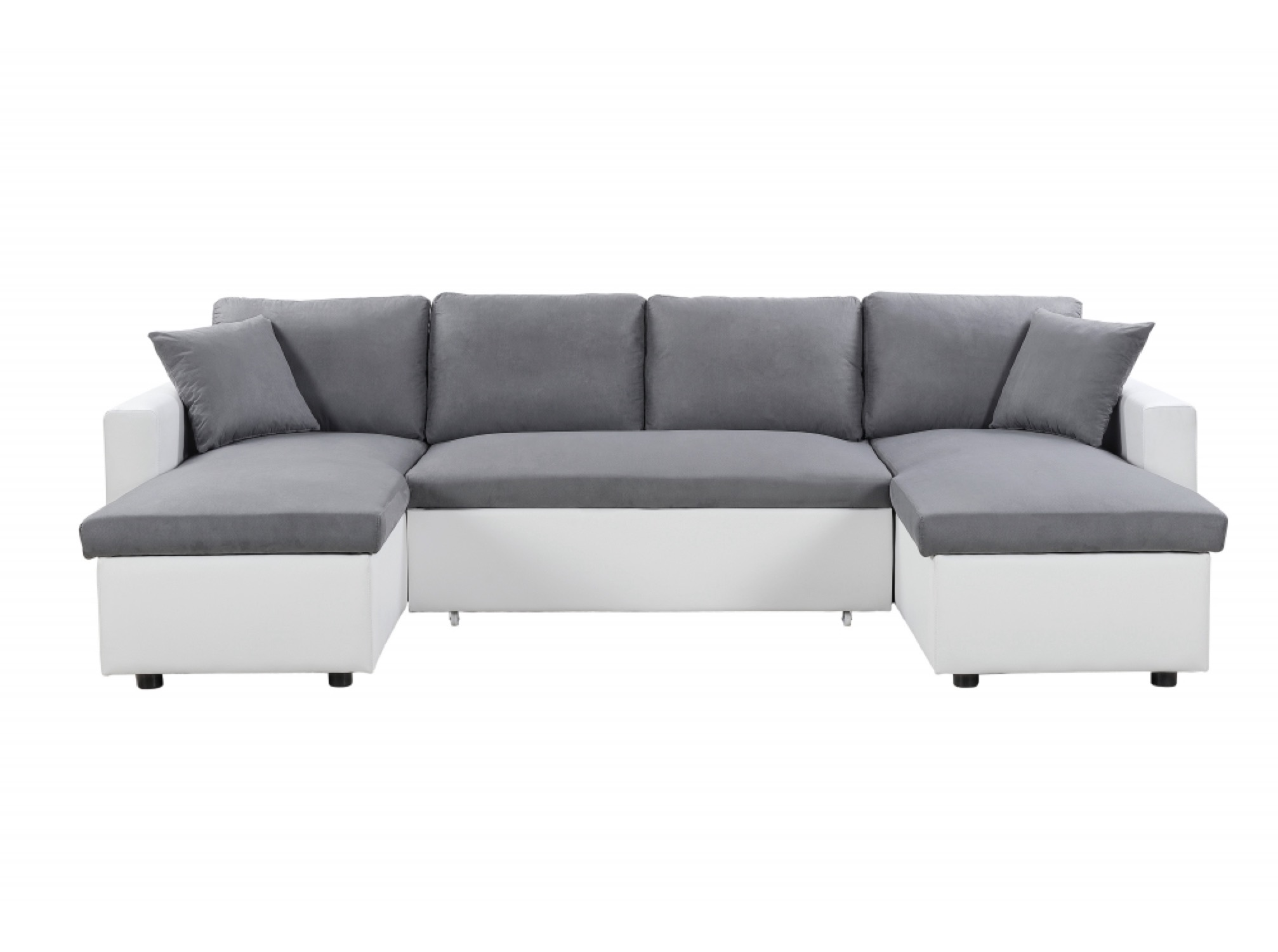 Canapé d'angle panoramique convertible blanc et gris