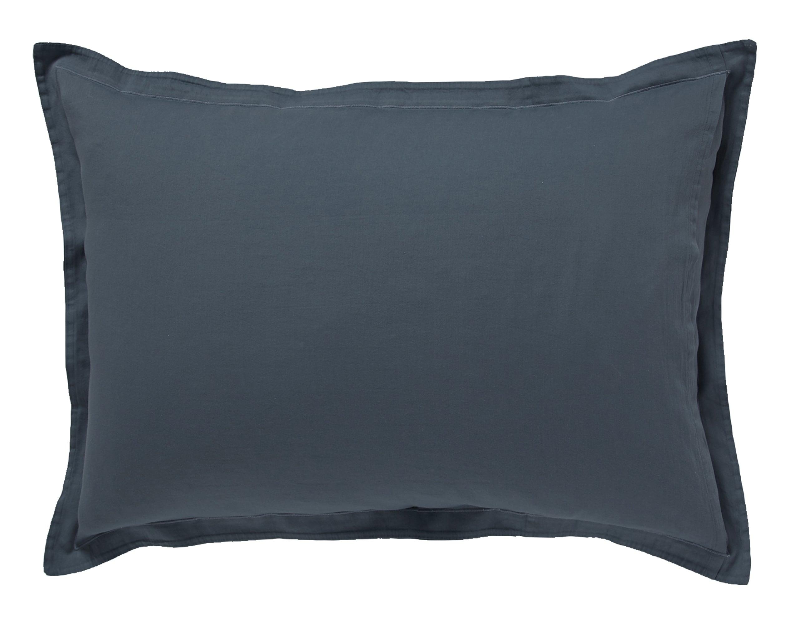 Taie d'oreiller 50x70 en satin de coton  gris tempête
