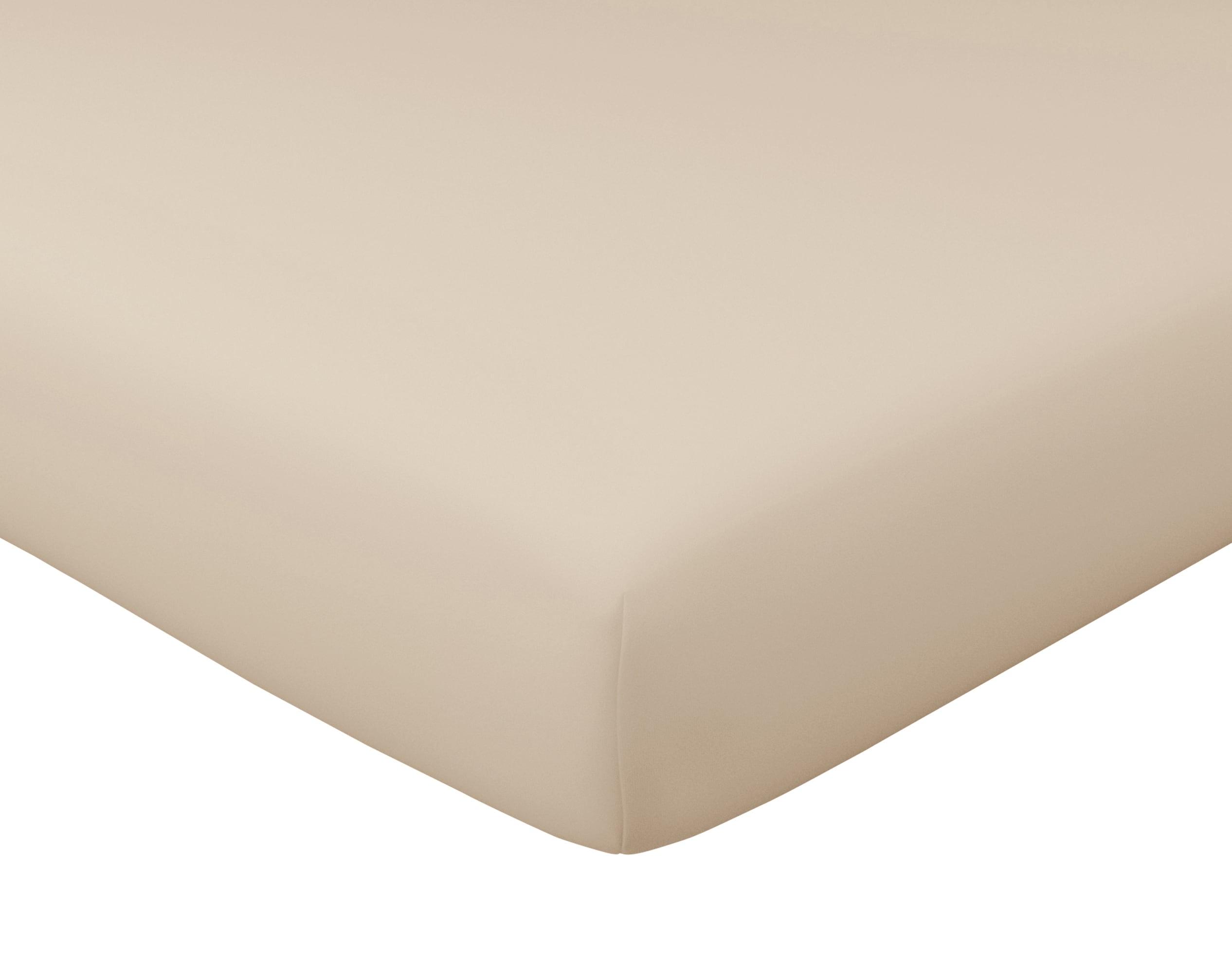Drap-housse 160x200 en satin de coton  beige