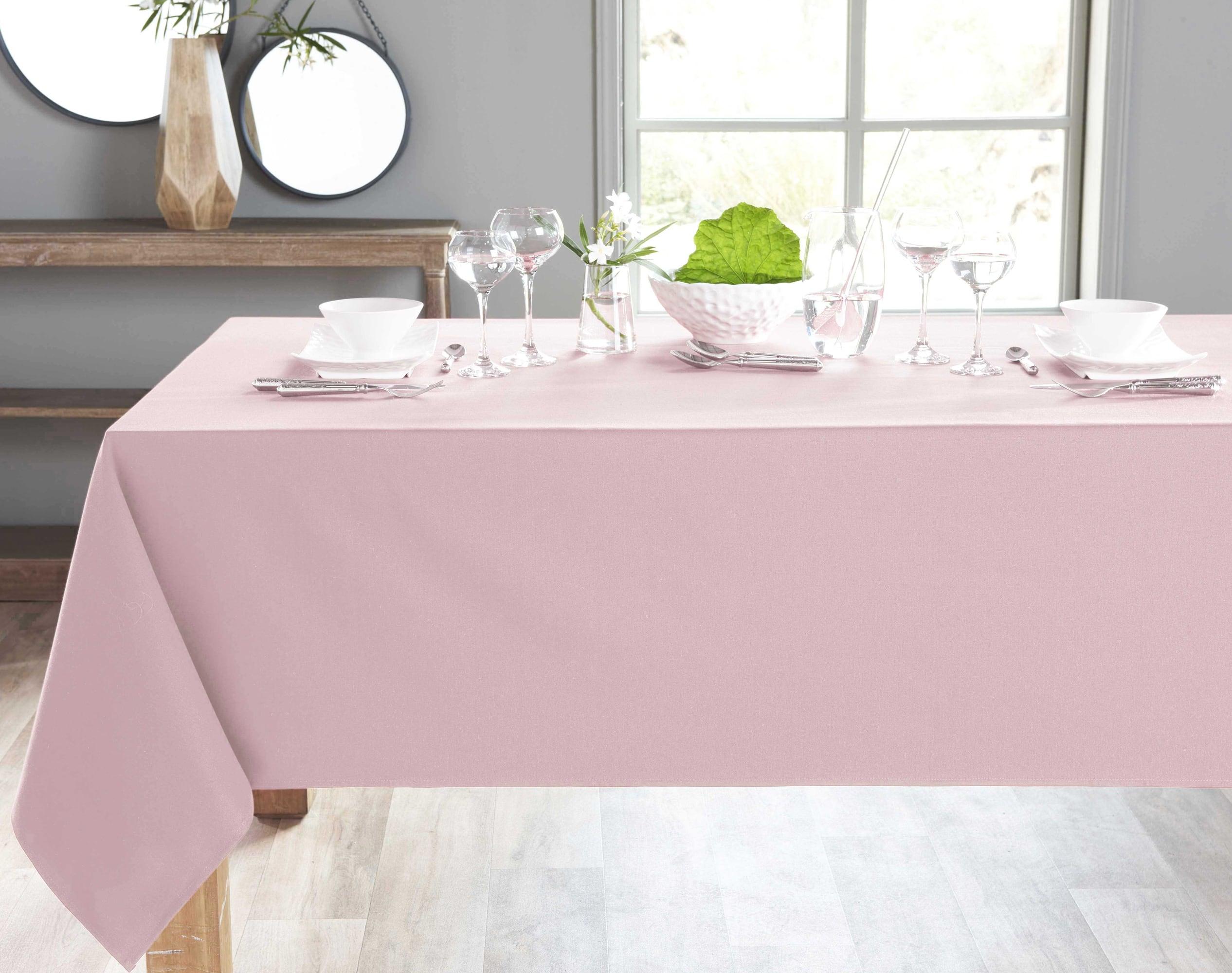Nappe ronde rose poudré en coton 180x180