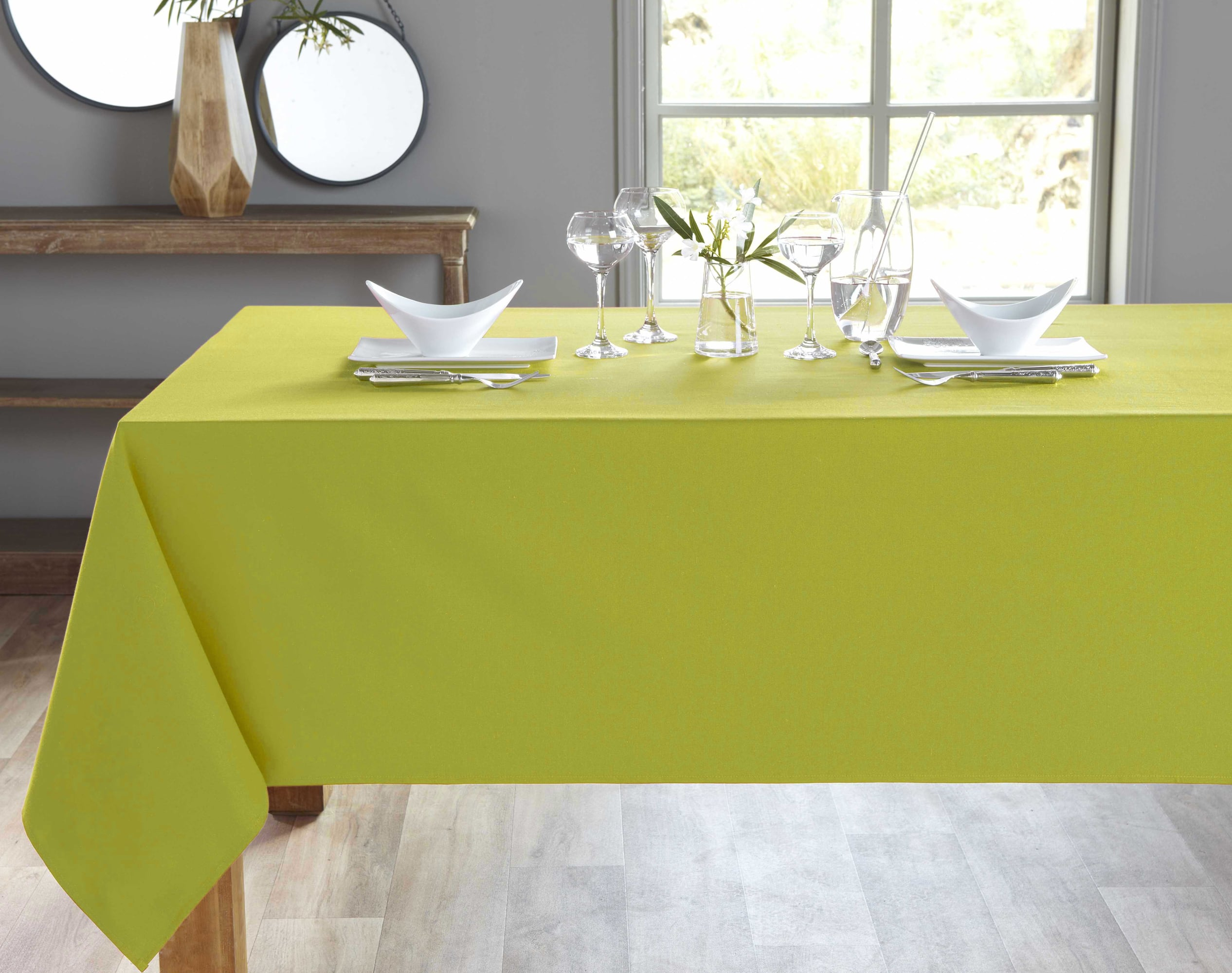 Nappe ronde vert en coton 180x180