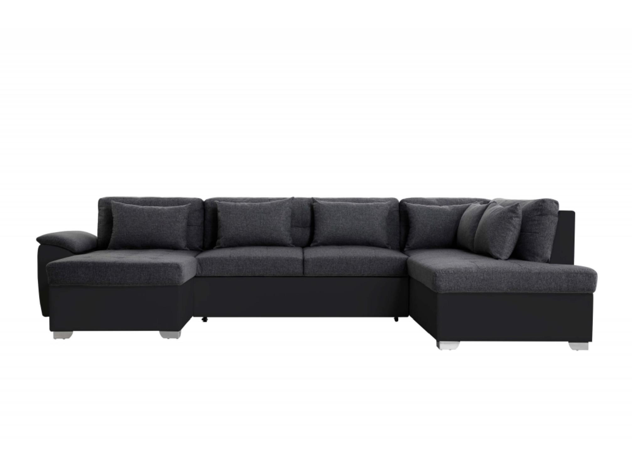 Canapé panoramique convertible bi-matière noir/gris