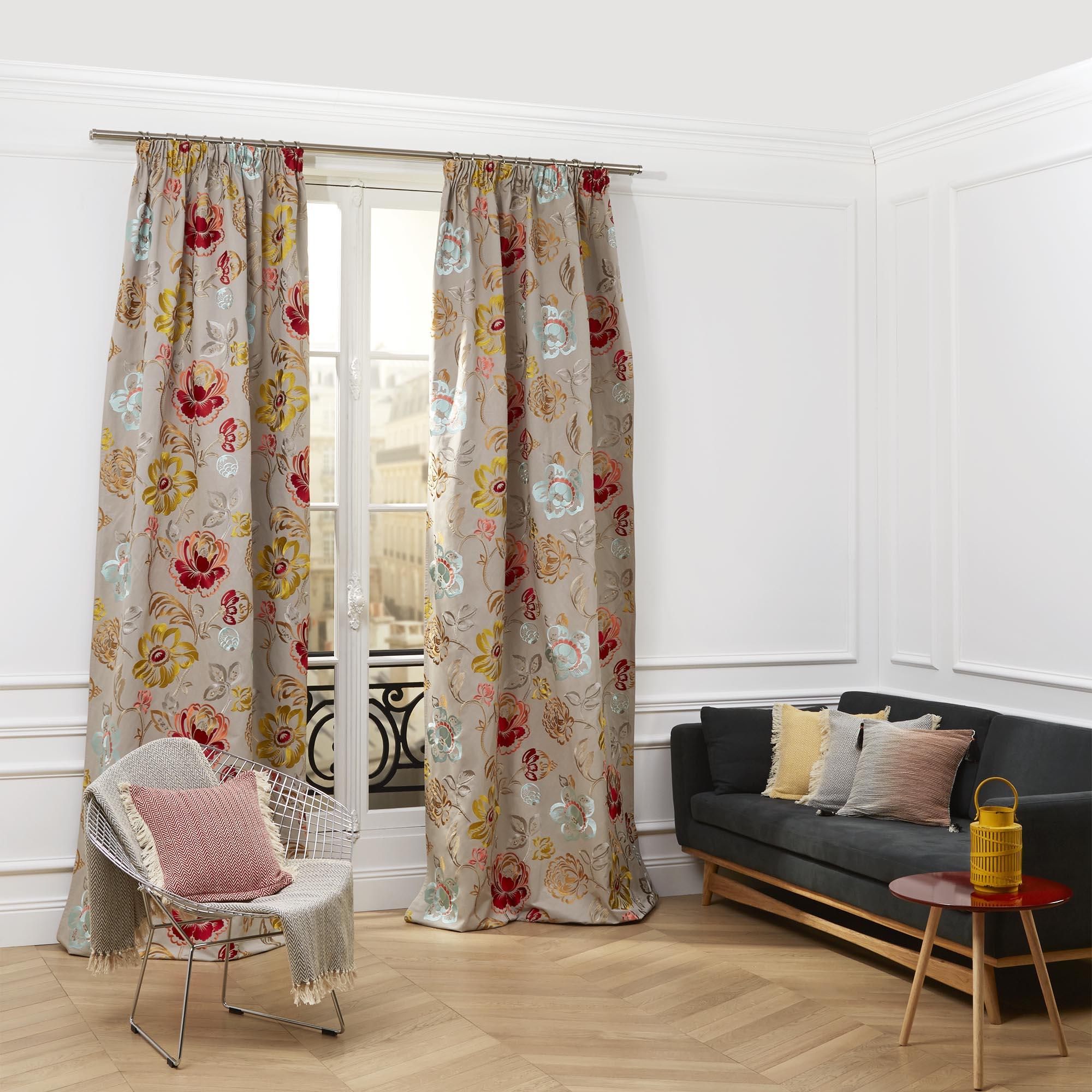 Rideau à ruban fronceur MAGELLAN 135x375 cm Taupe multicolore
