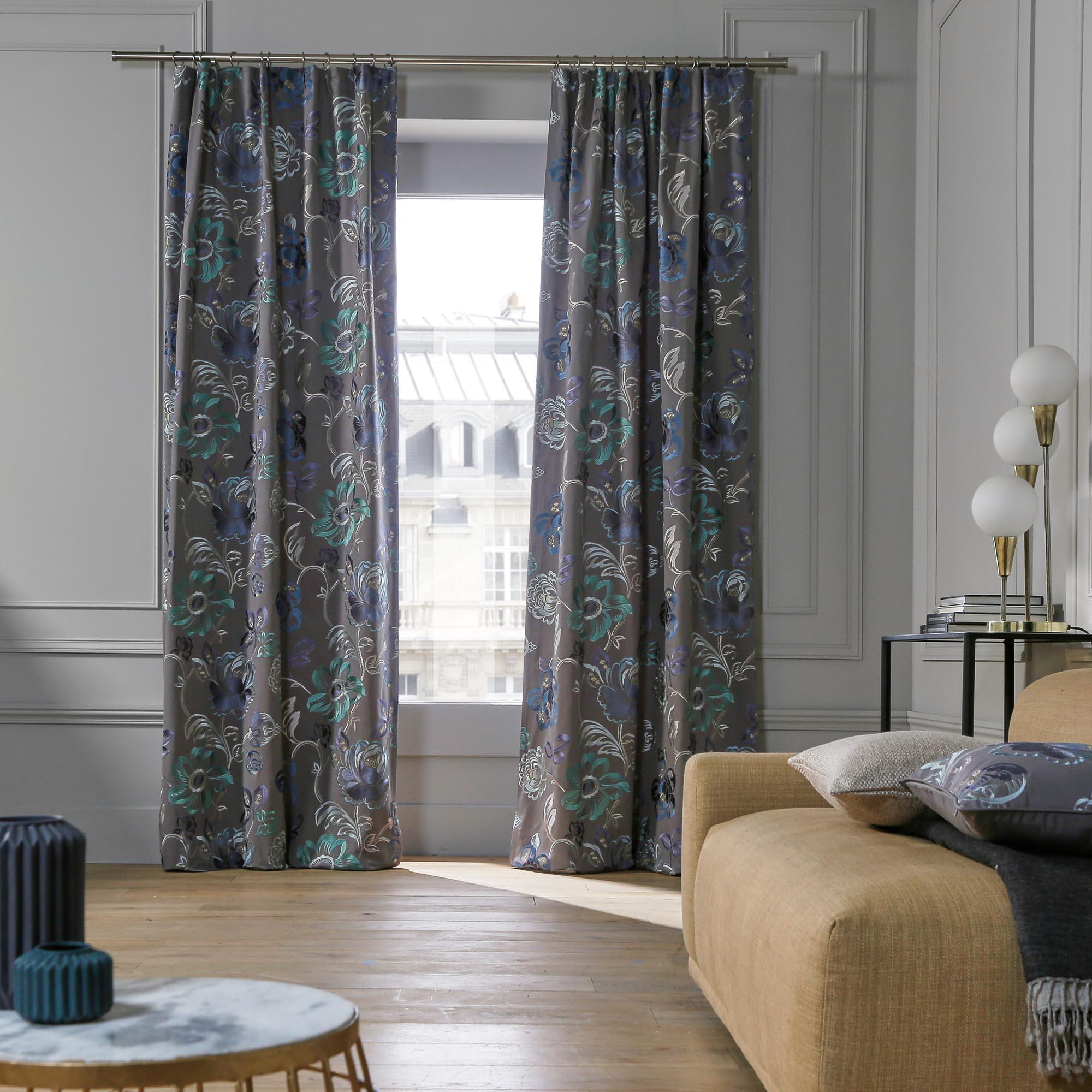 Rideau à ruban fronceur MAGELLAN 135x300 cm Bleu multicolore