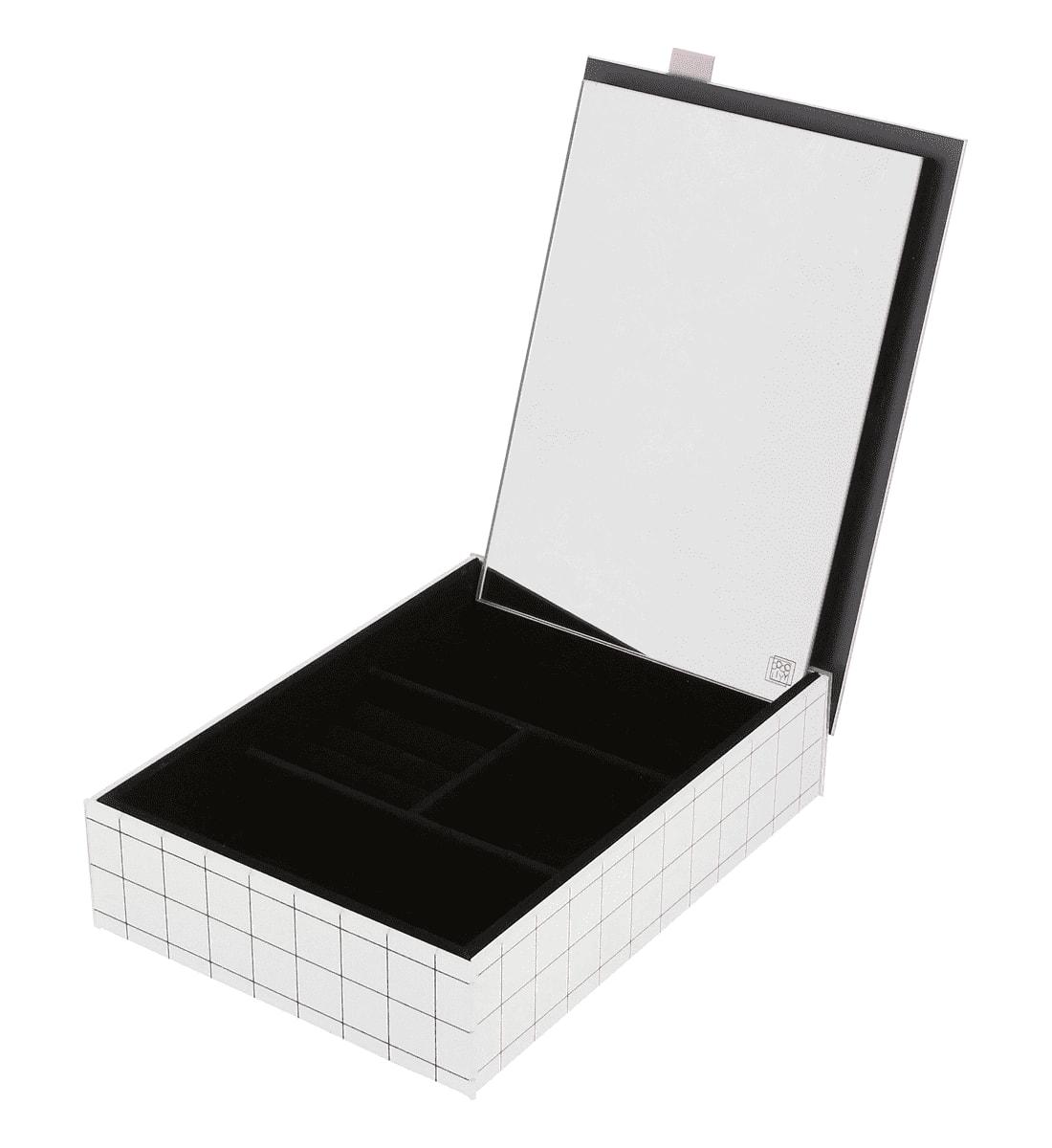 Boîte à bijoux en mdf et verre 27,5x20cm