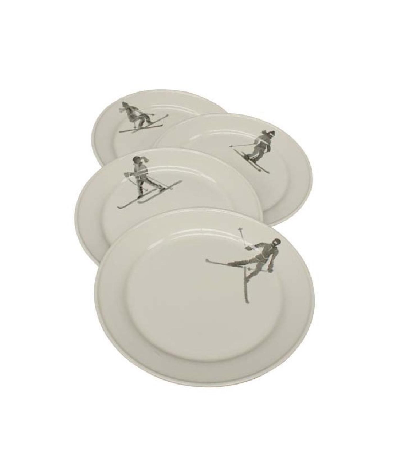 Assiette en céramique blanche D27cm - Lot de 4