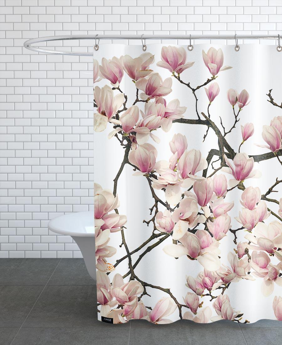 Rideau de douche en polyester en Blanc & Marron/150x200