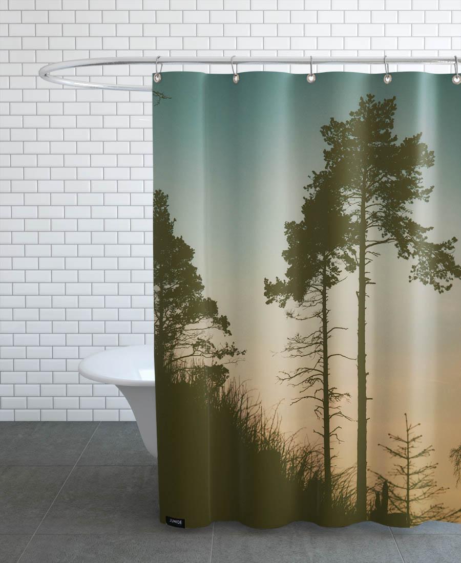 Rideau de douche en polyester en Noir & Turquoise/150x200