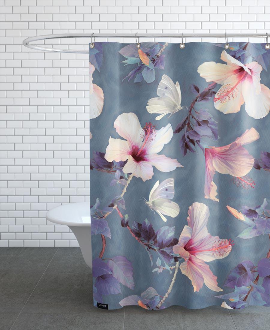 Rideau de douche en polyester en Gris & Rose/150x200