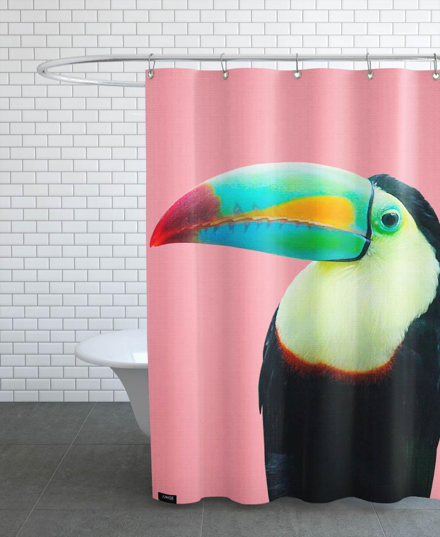 Rideau de douche en polyester en Multicolore & Noir/150x200