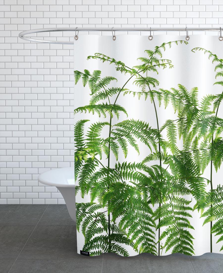Rideau de douche en polyester en Blanc & Vert/150x200