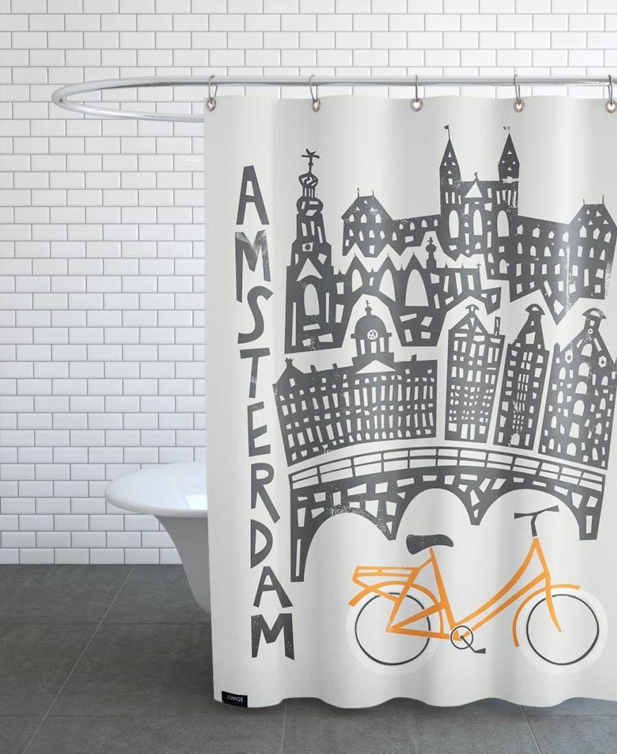 Rideau de douche en polyester en Gris & Noir/150x200