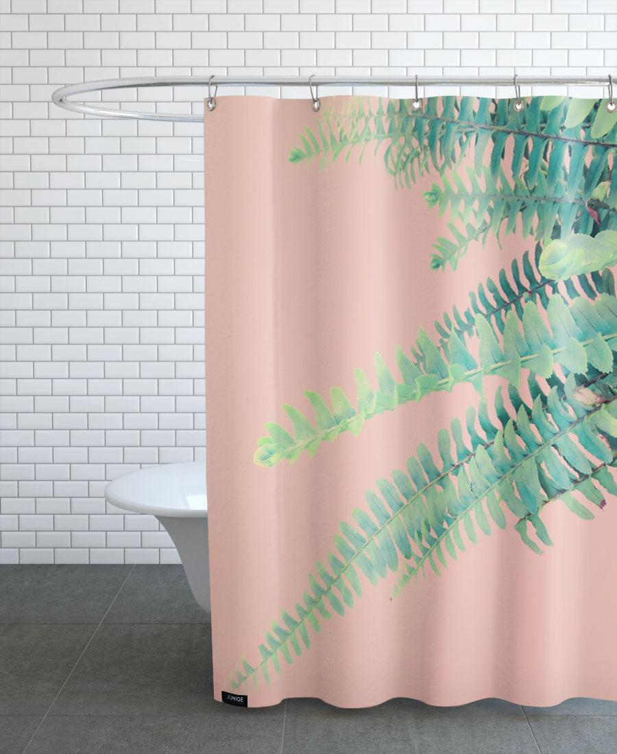 Rideau de douche en polyester en Rose & Vert/150x200