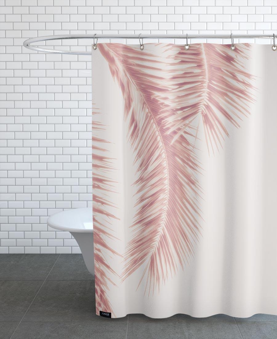 Rideau de douche en polyester en Blanc & Rose/150x200
