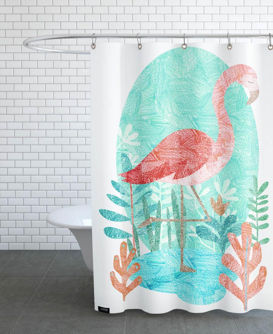 Rideau de douche en polyester en Rose & Turquoise/150x200