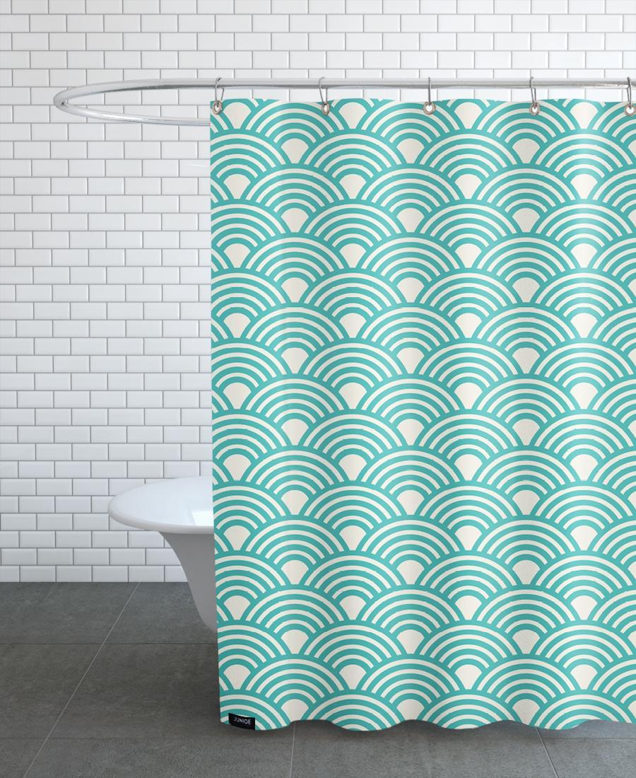 Rideau de douche en polyester en Blanc & Turquoise/150x200