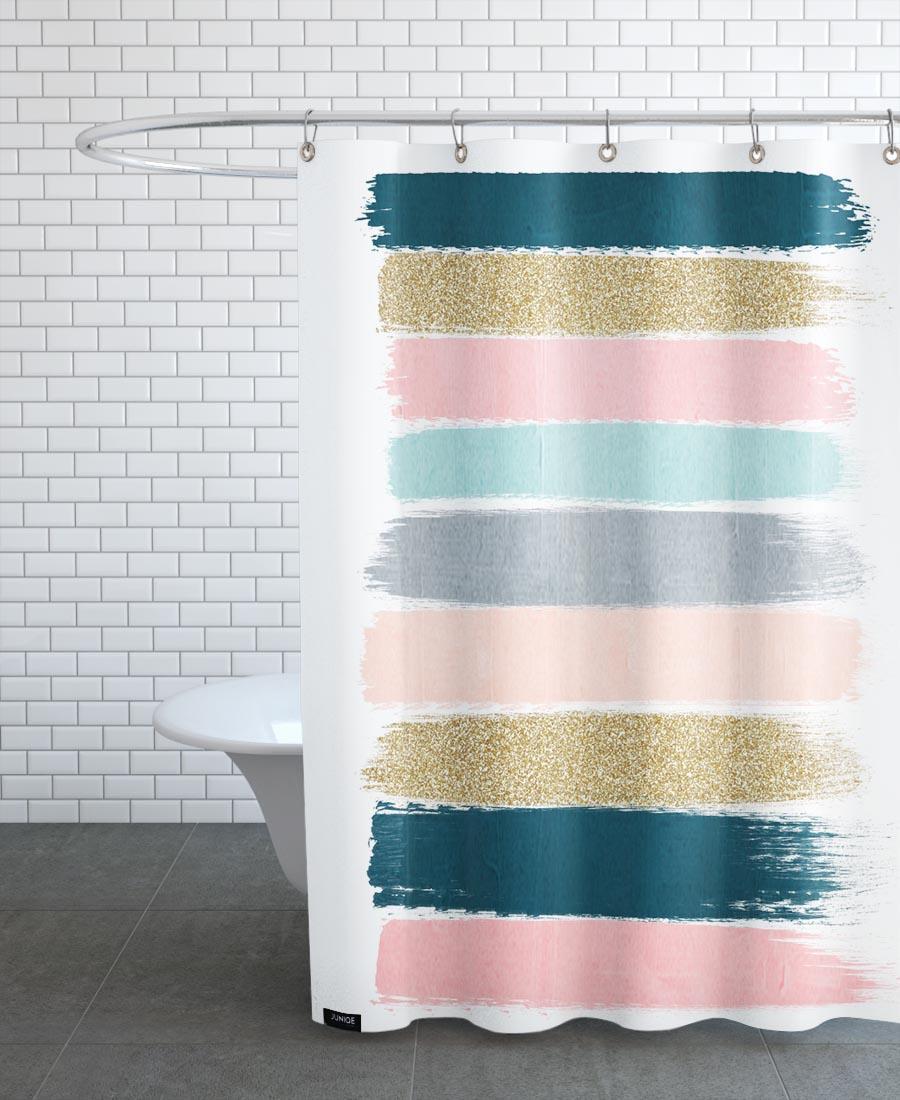 Rideau de douche en polyester en Jaune & Rose/150x200