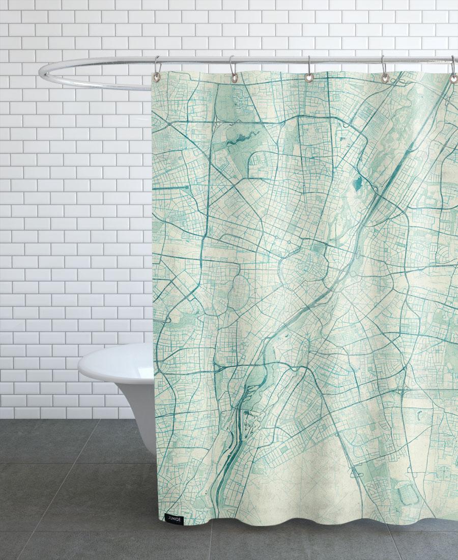 Rideau de douche en polyester en Blanc & Bleu/150x200