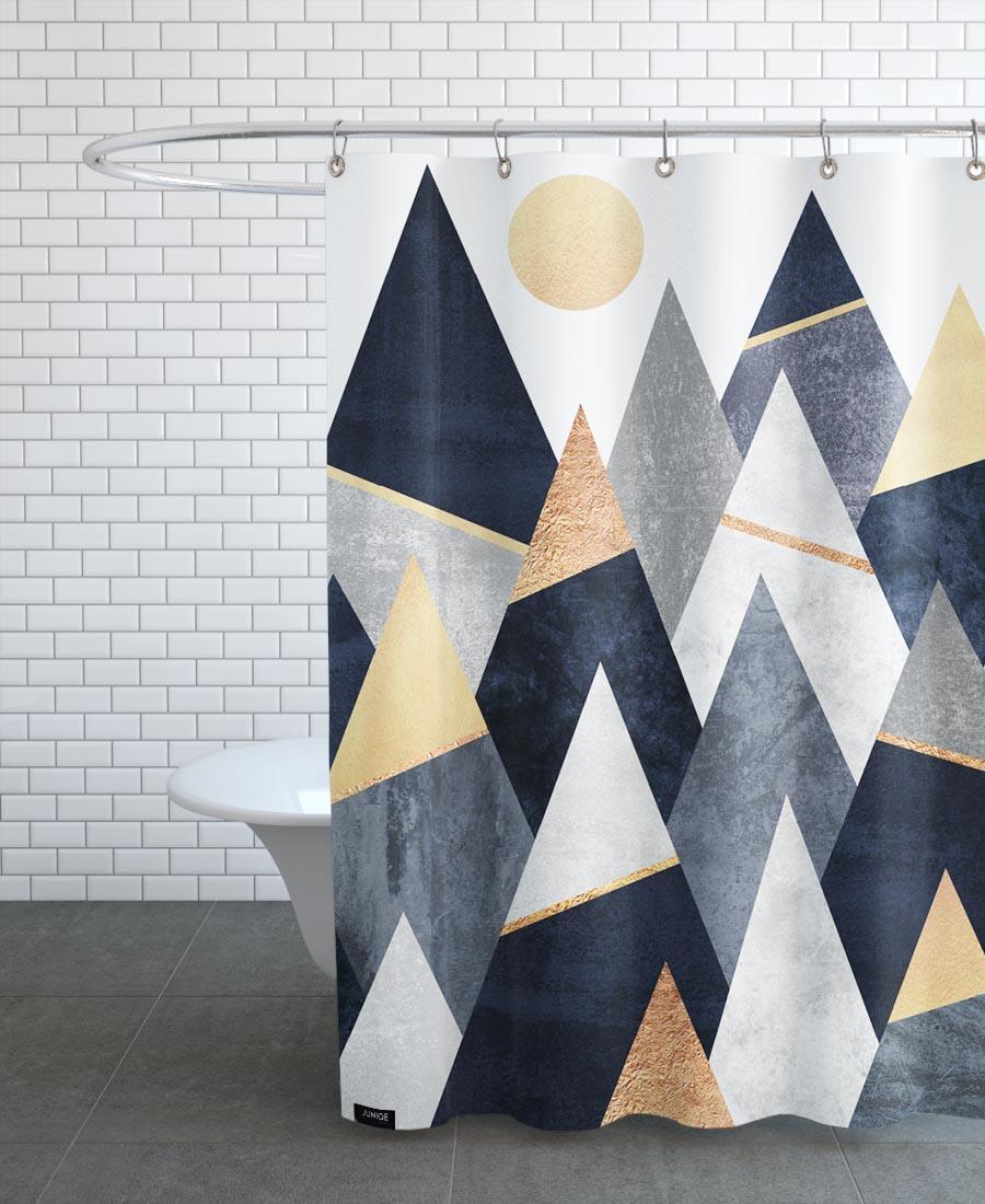 Rideau de douche en polyester en Gris & Jaune/150x200