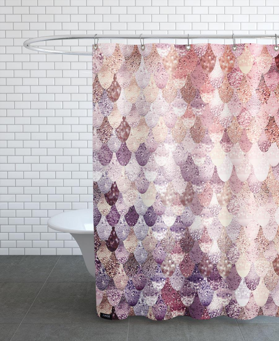Rideau de douche en polyester en Gris & Violet/150x200