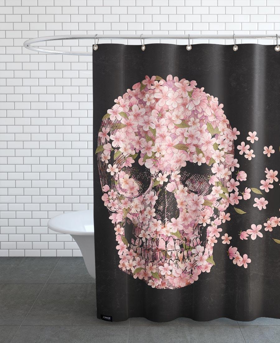 Rideau de douche en polyester en Noir & Rose/150x200