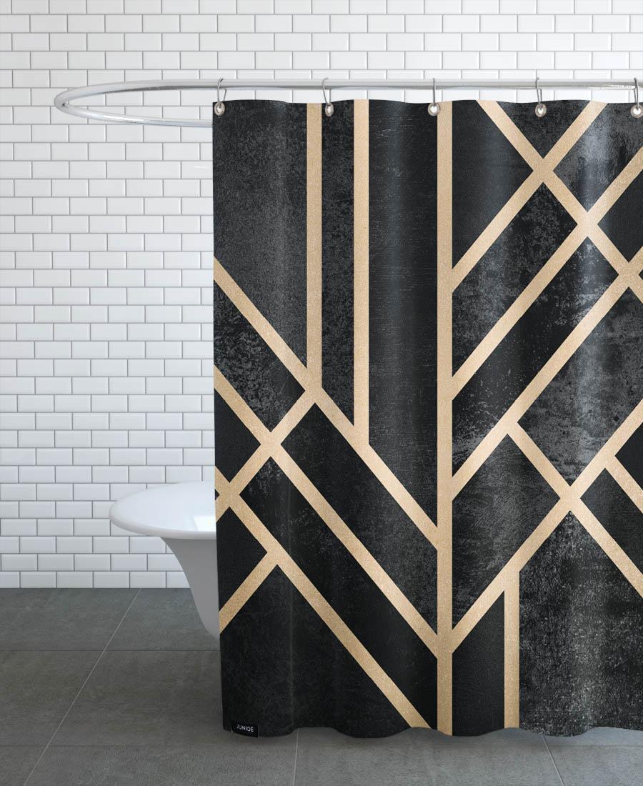 Rideau de douche en polyester en Jaune & Noir/150x200