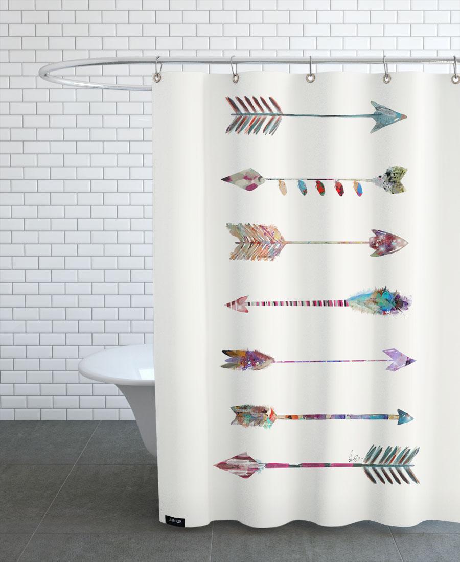 Rideau de douche en polyester en Blanc & Multicolore/150x200