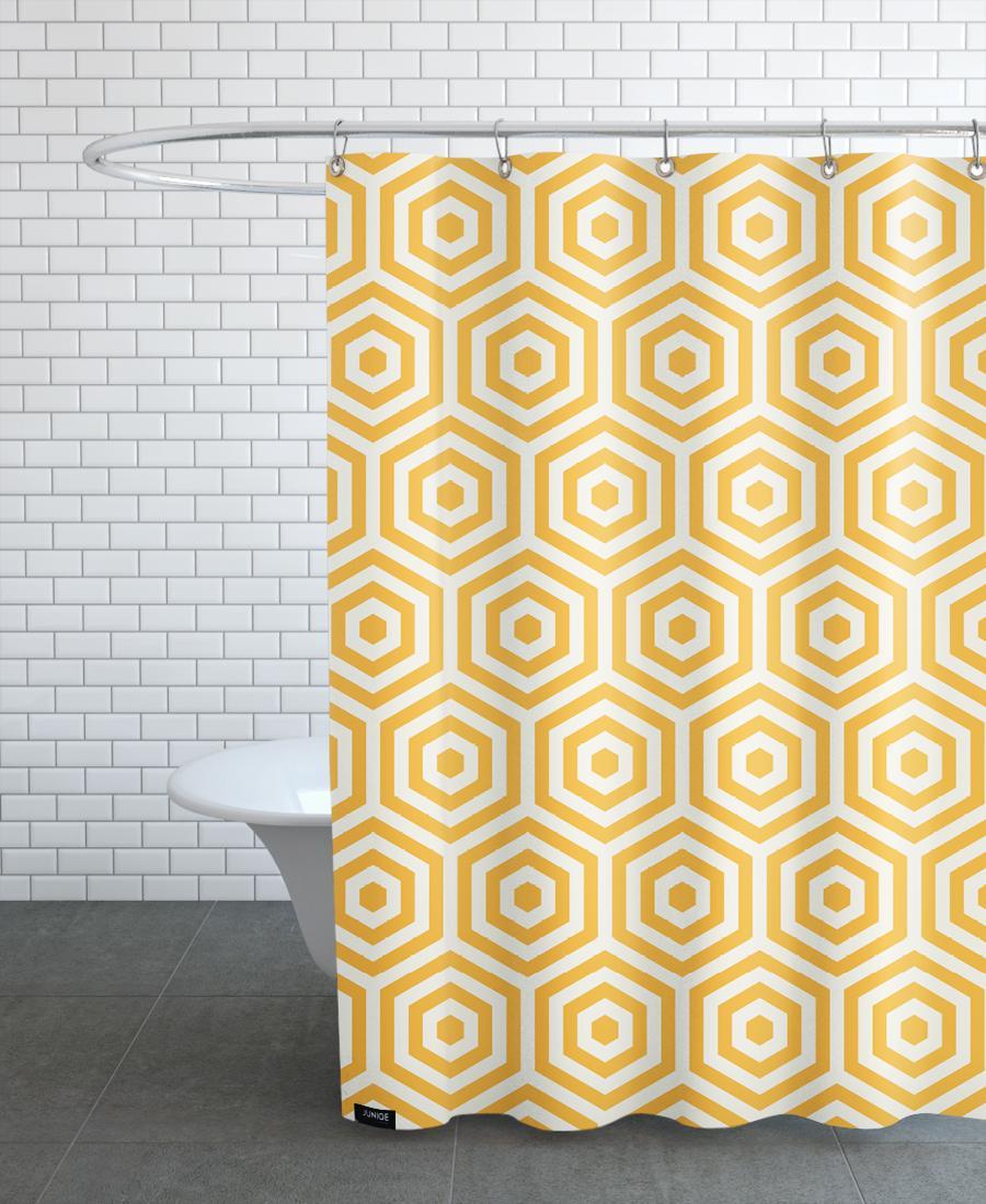 Rideau de douche en polyester en Blanc & Jaune/150x200