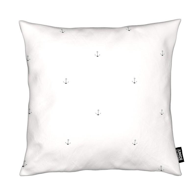 Coussin en microfibre en Blanc ivoire & Gris/30x30