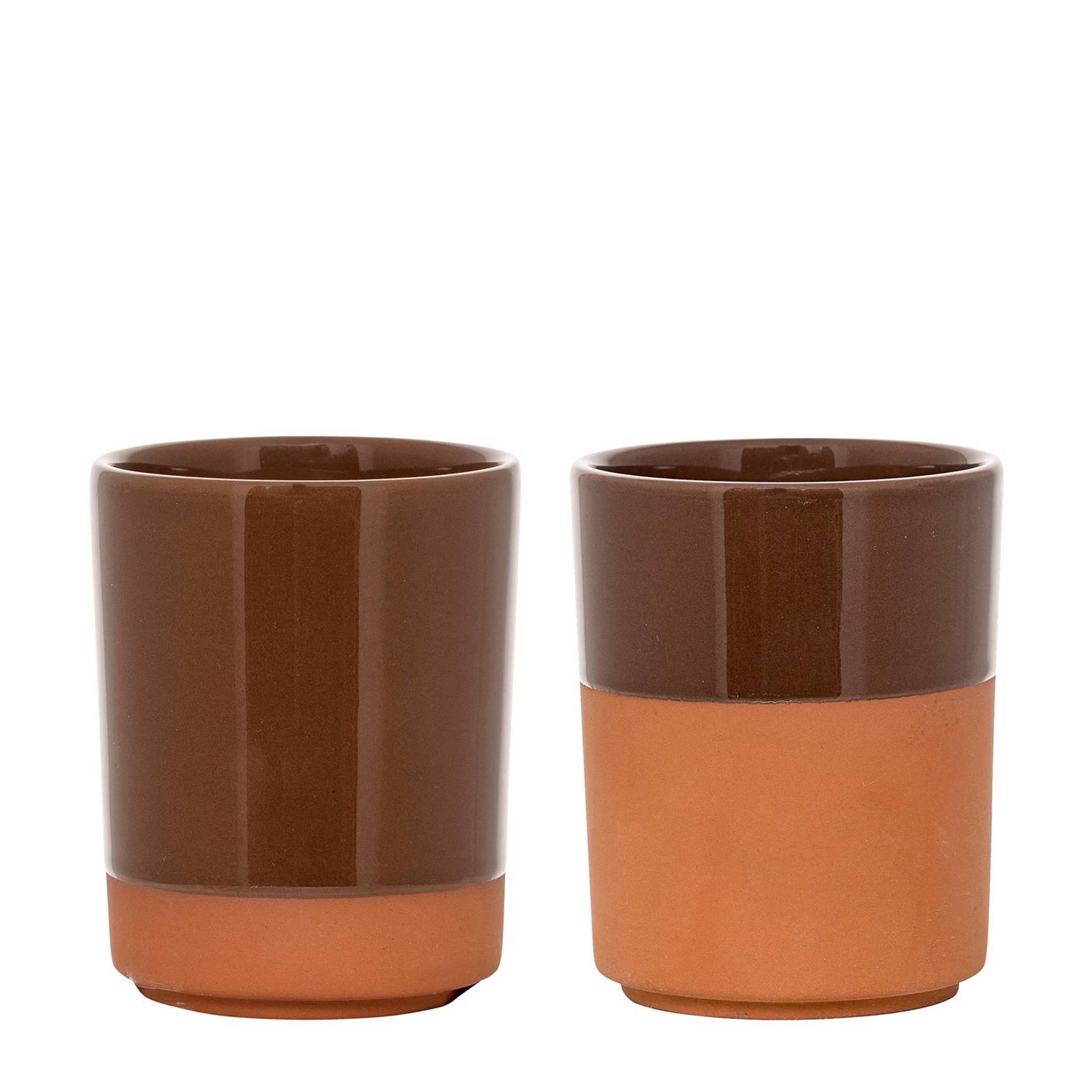 Tasse en terre cuite orange - Lot de 2