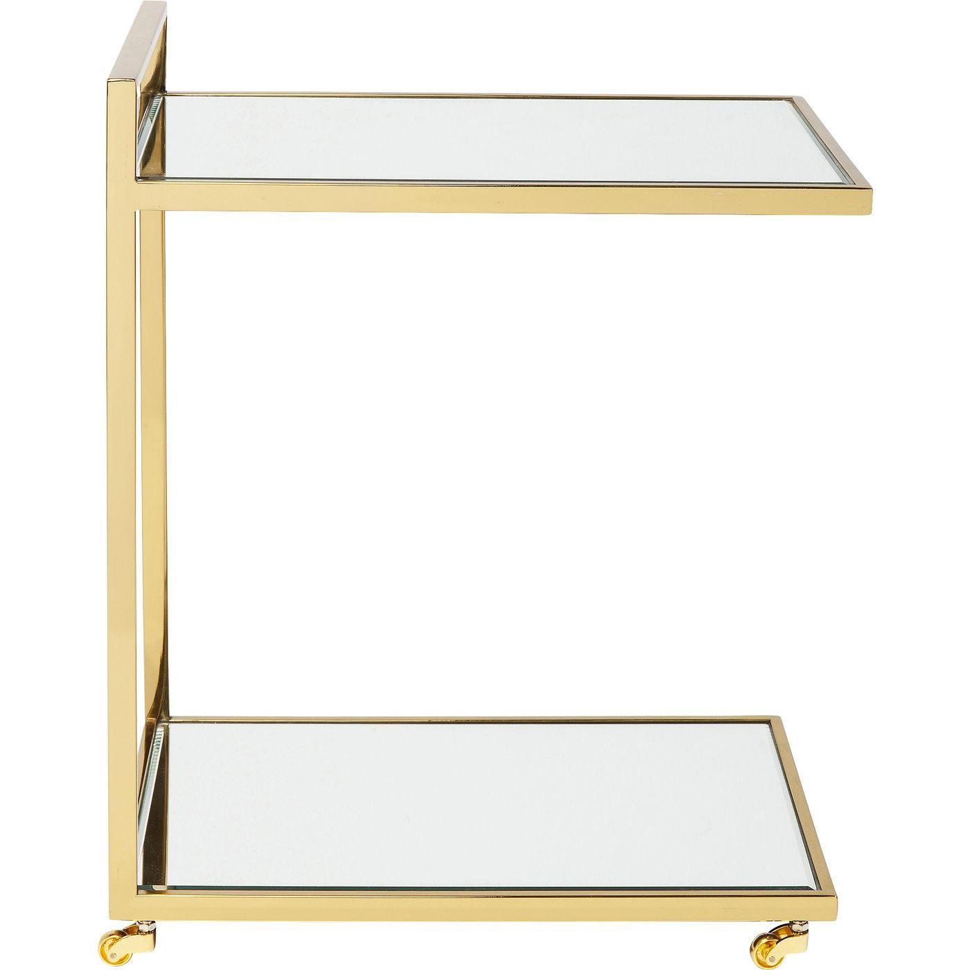 Desserte en verre miroir et acier doré