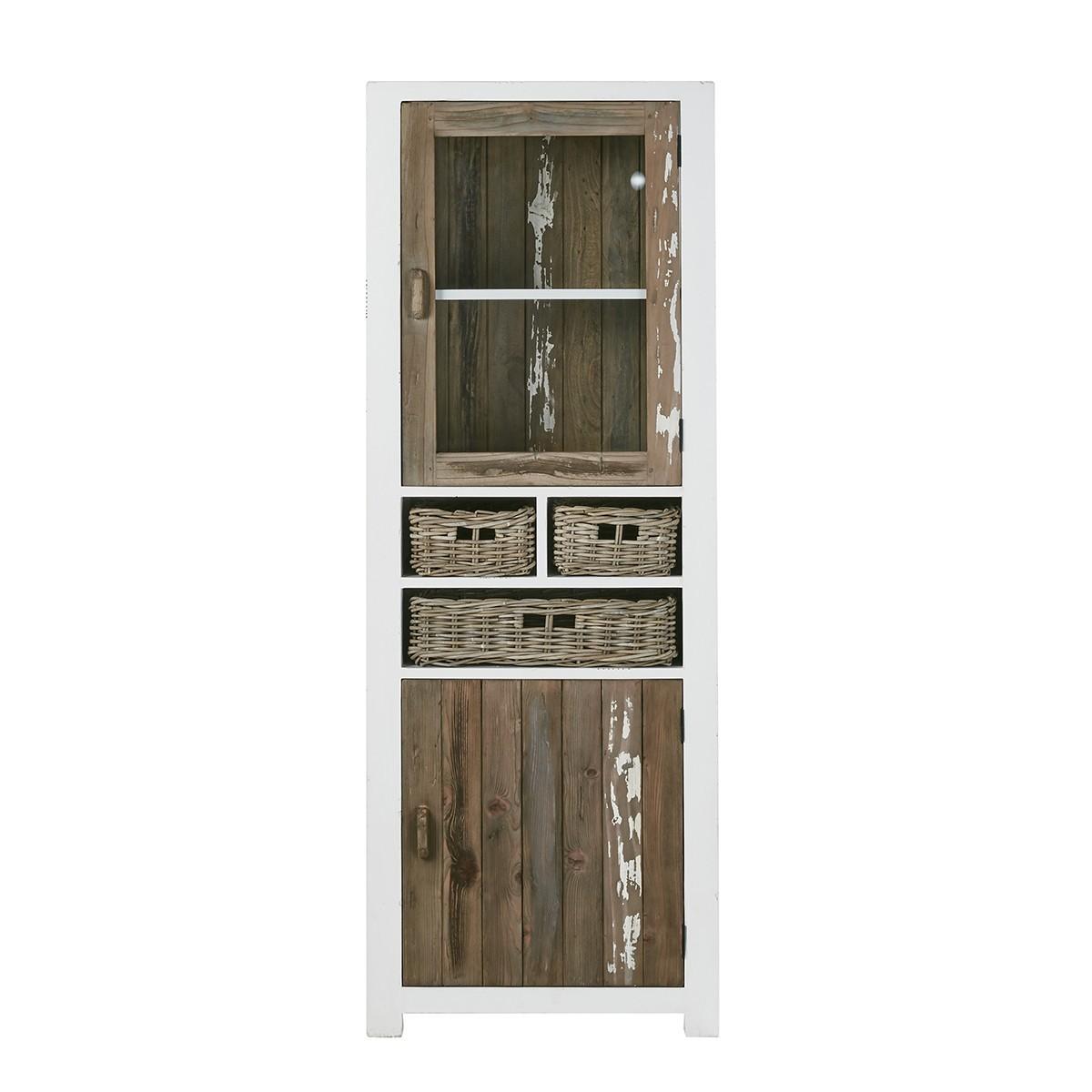 Vaisselier en bois de pin recyclé 2 portes 3 tiroirs