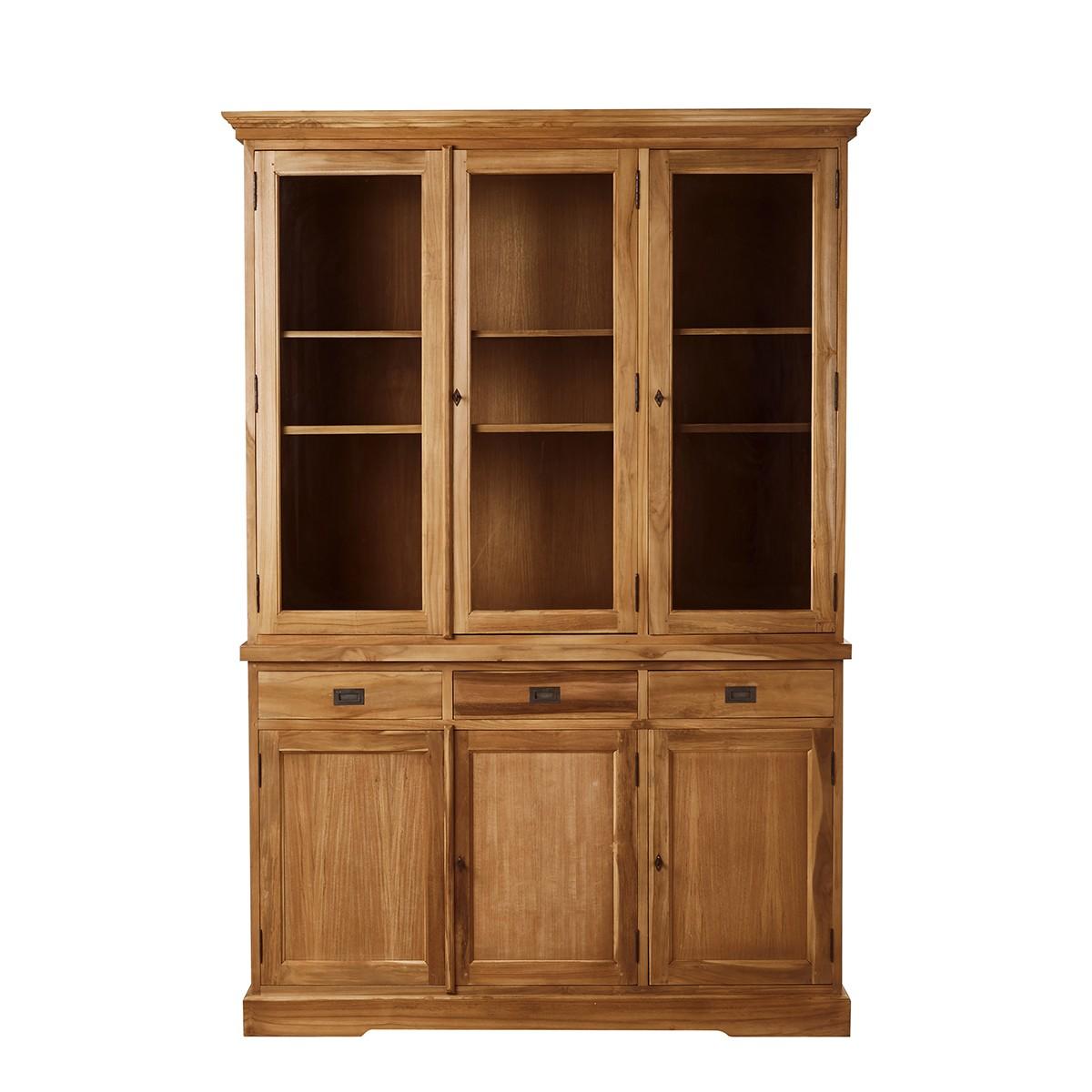 Vaisselier en bois de teck 6 portes 3 tiroirs