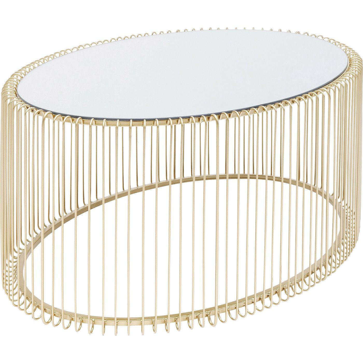 Table basse ovale en acier doré et verre miroir