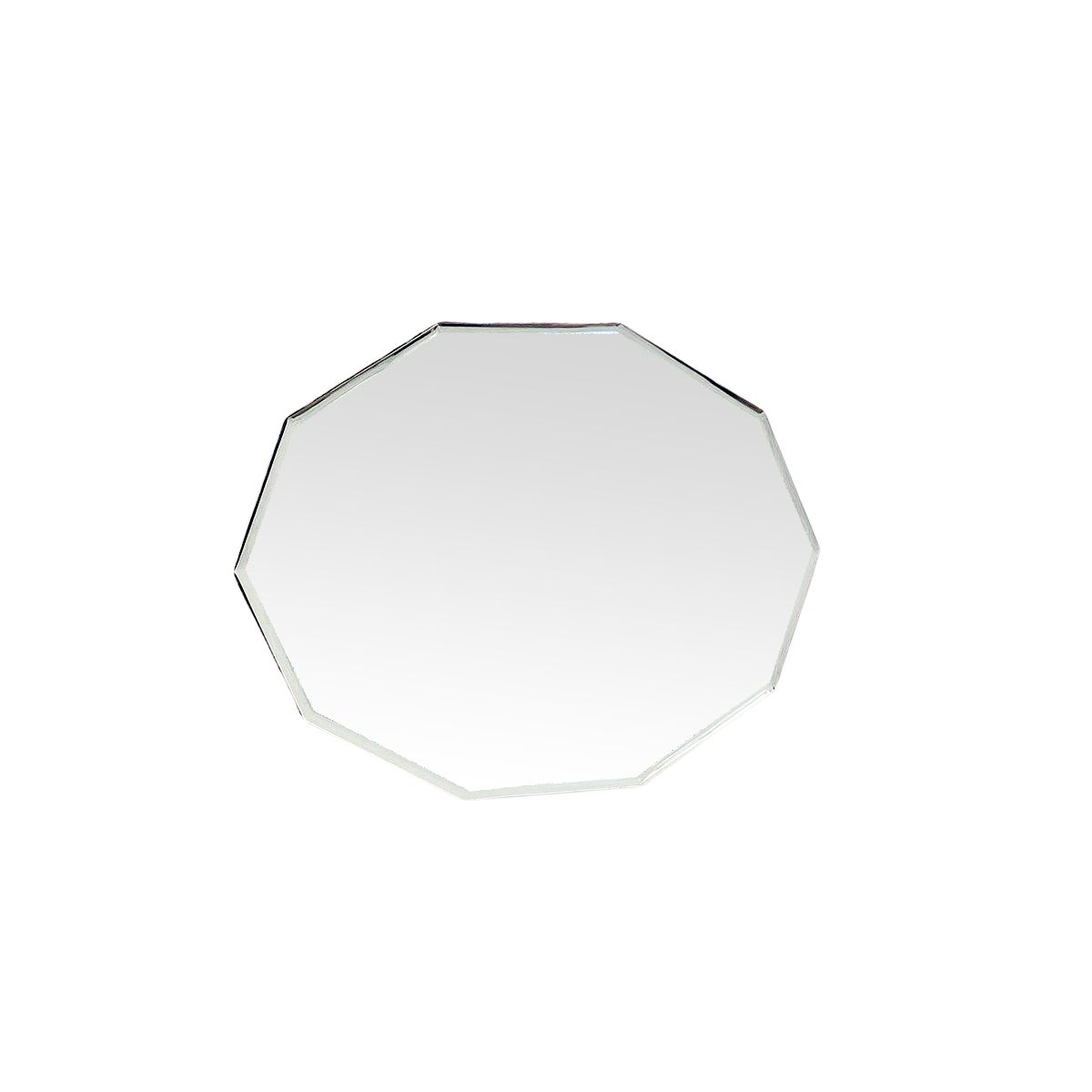 Miroir décagonal ovale biseauté blanc 44x59