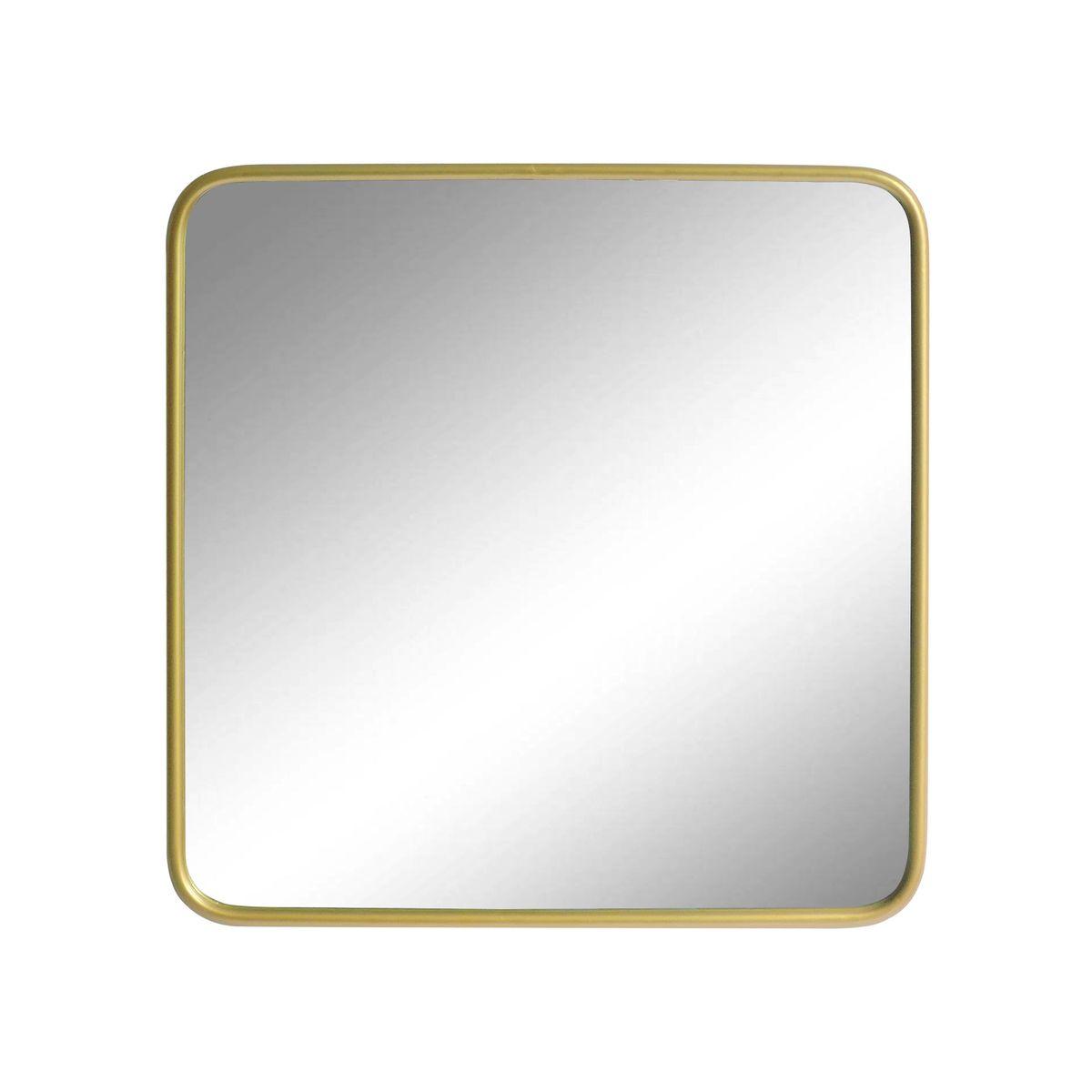 Miroir carré angles arrondis laiton or 65x65