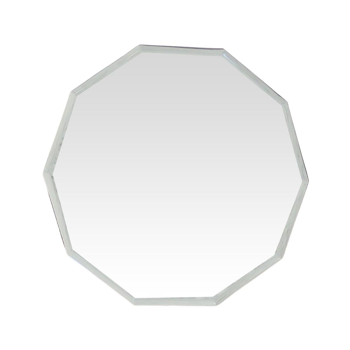 Miroir décagonal contour biseauté blanc 44x47