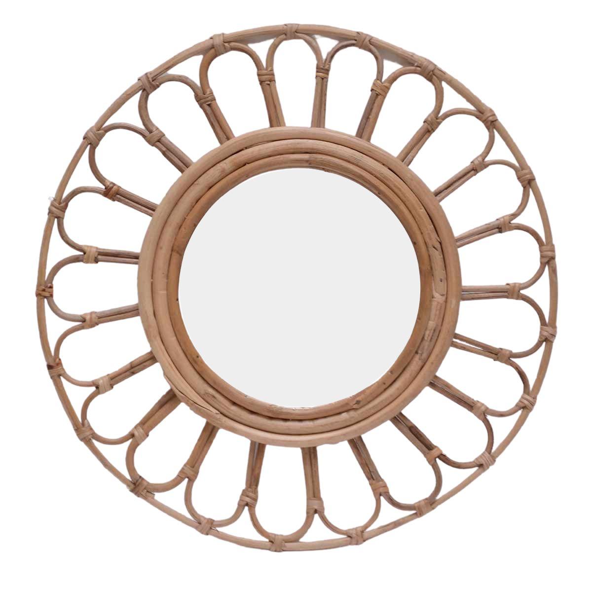 Miroir rond en rotin alma bois clair D20