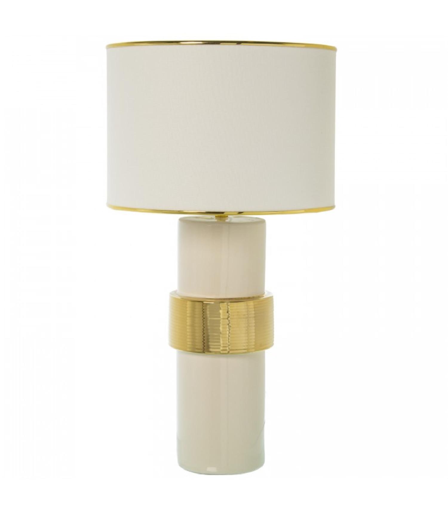 Lampe à poser céramique blanc et doré H63cm