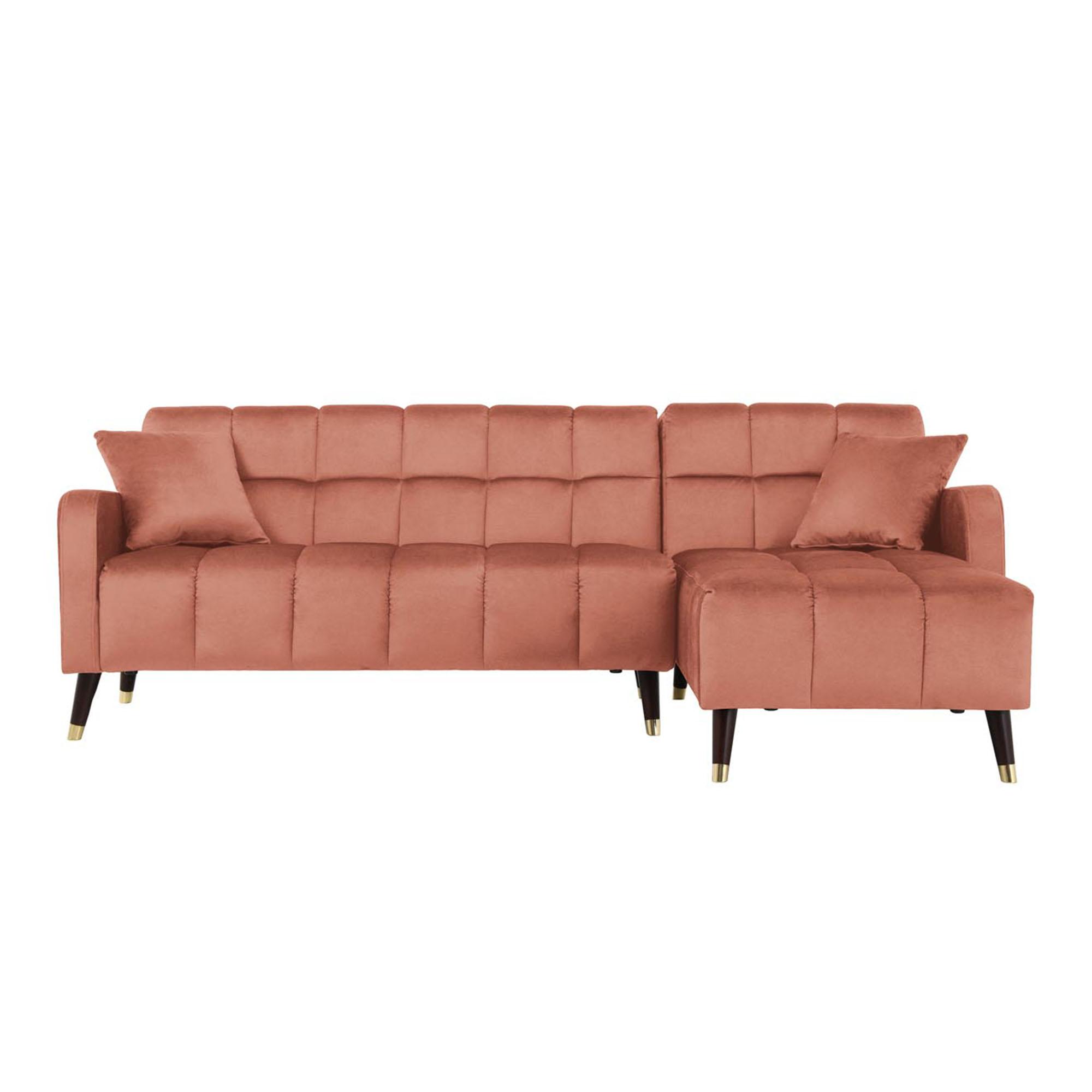 Canapé d'angle velours rose corail imperméable 4 places