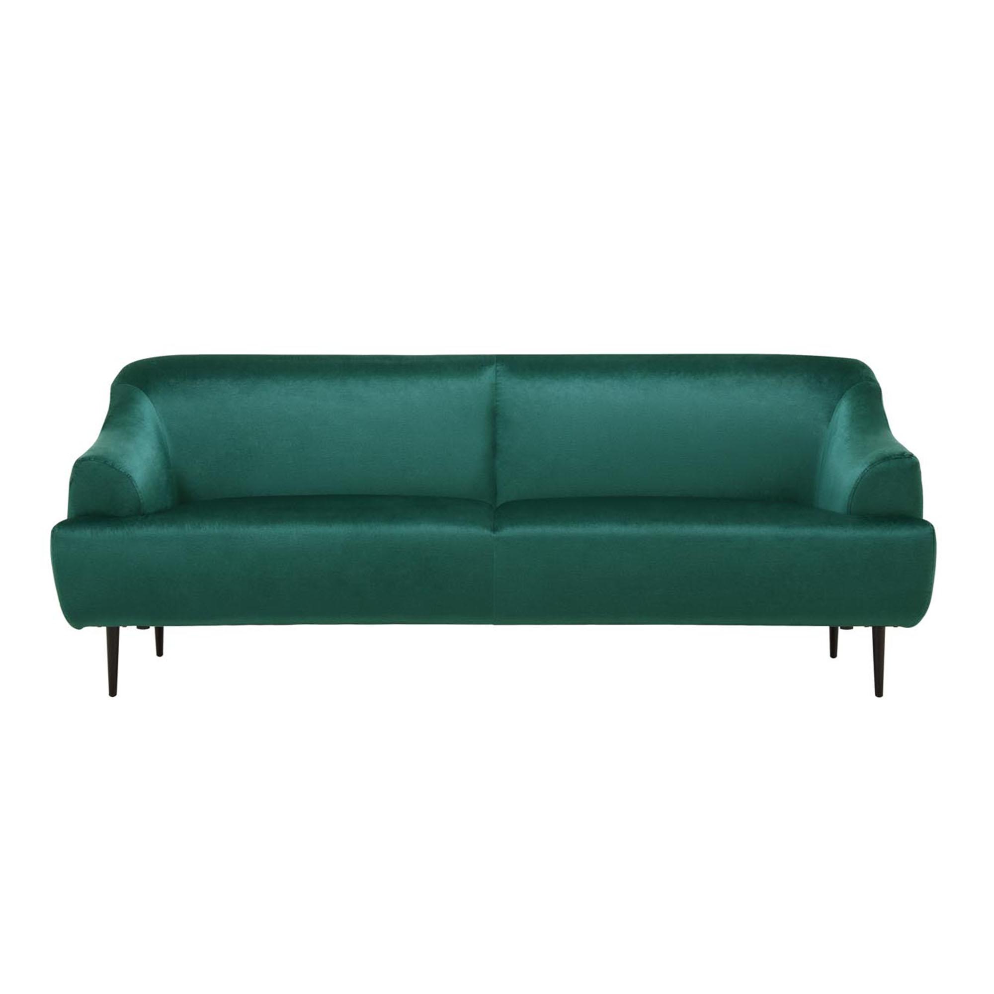 Canapé velours imperméable vert émeraude 3 places