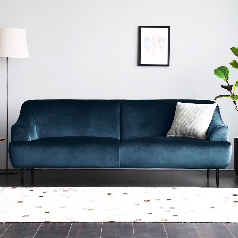 Canapé velours imperméable bleu foncé 3 places
