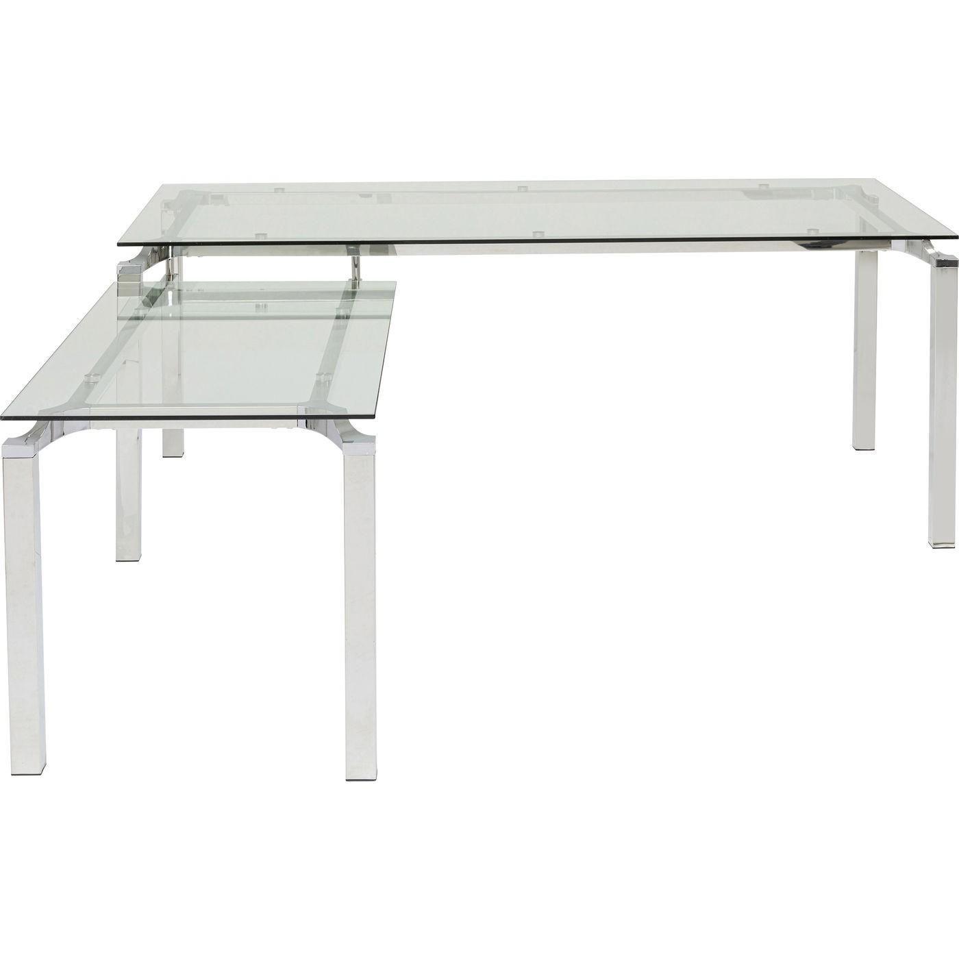 Bureau d'angle en verre et acier chromé