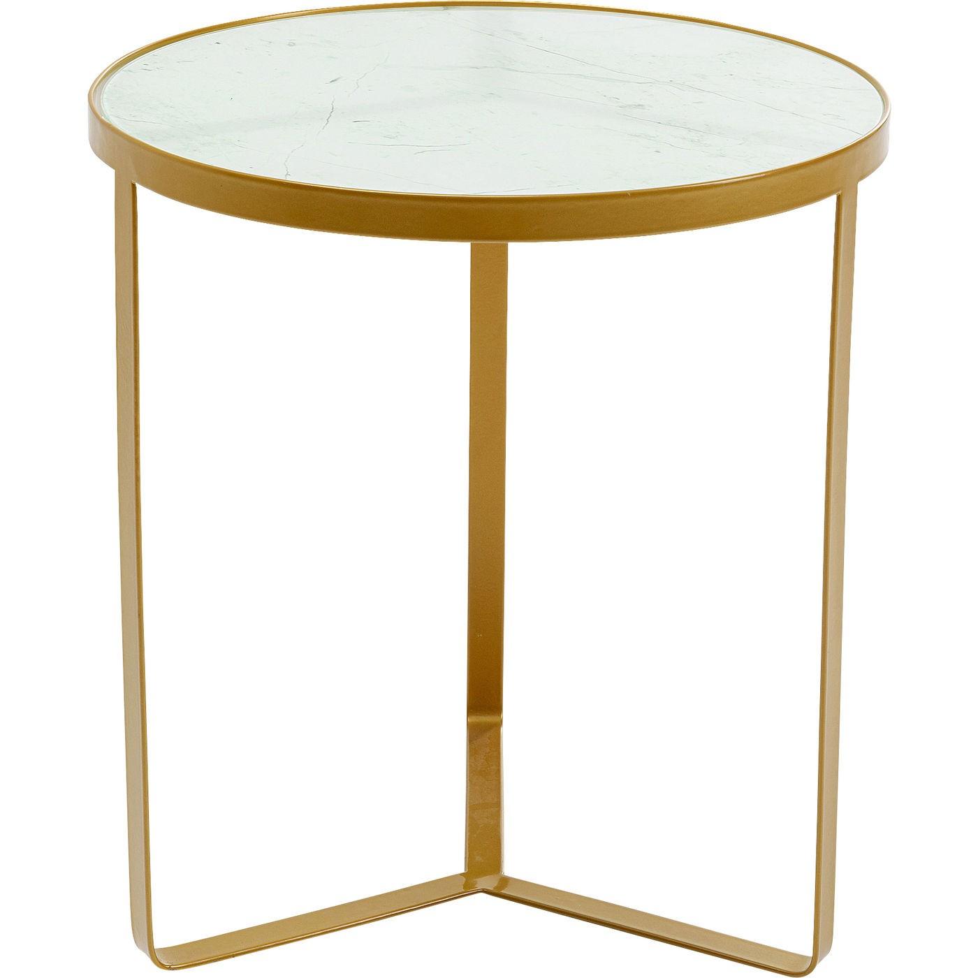 Table d'appoint en verre effet marbre et acier doré D45