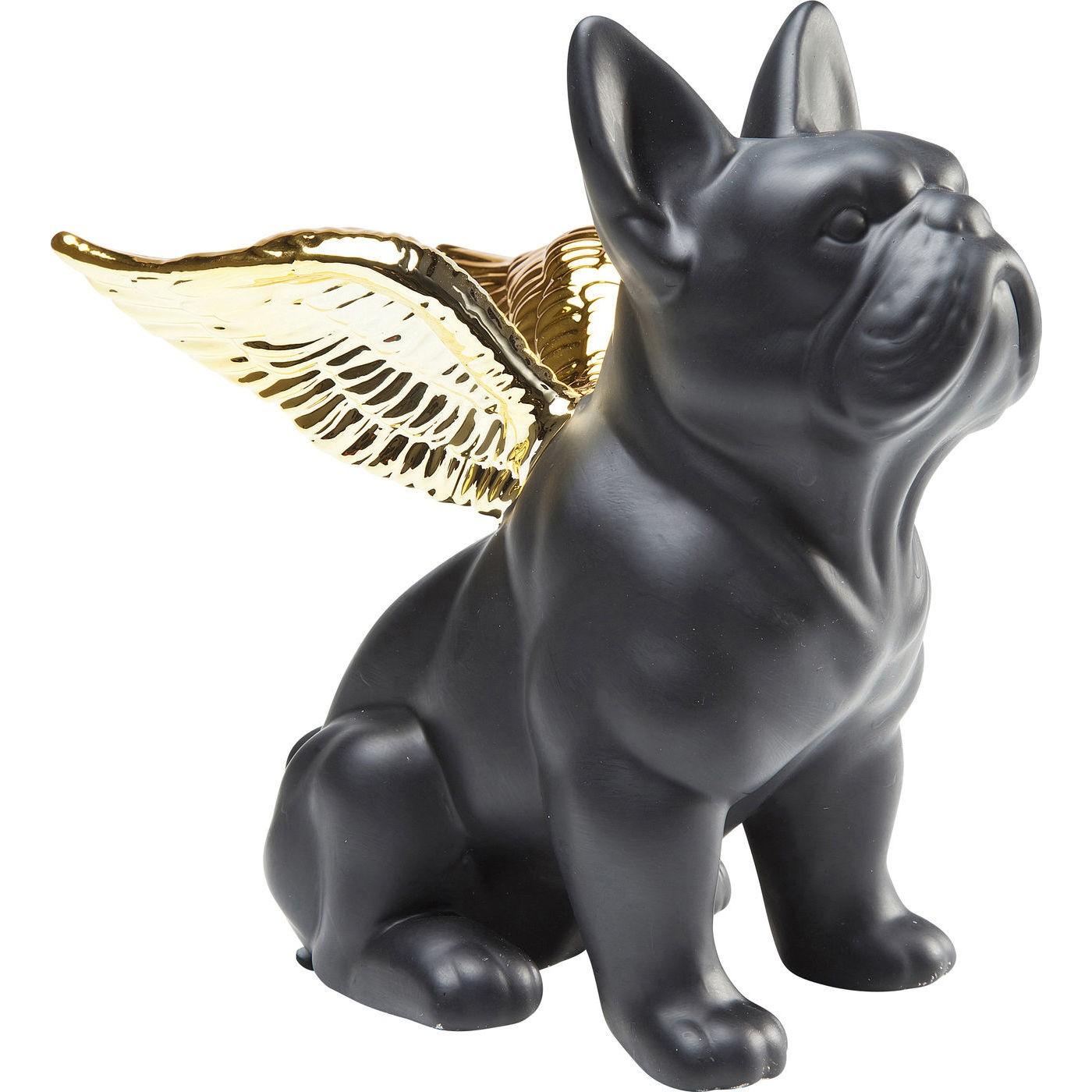 Statuette bouledogue noir ailes dorées
