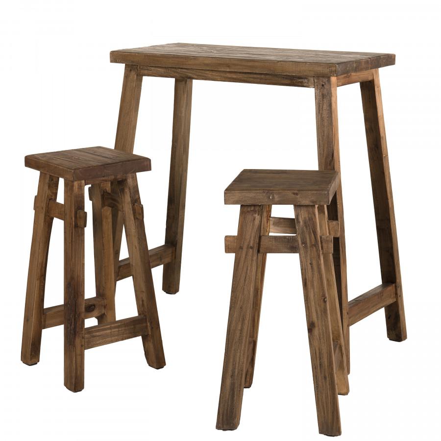 maison du monde Set de bar esprit brocante 1 table 2 tabourets bois mahogagny
