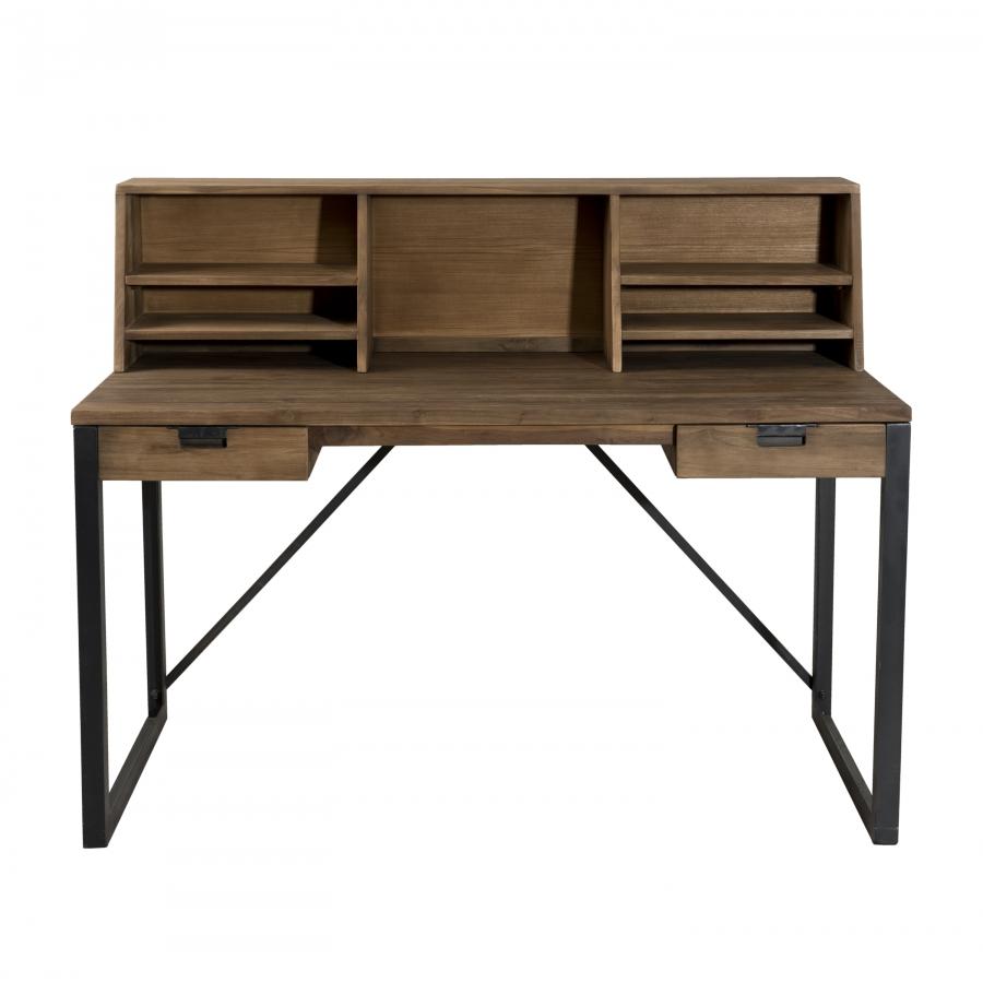 Bureau 2 tiroirs avec étagères bois et métal