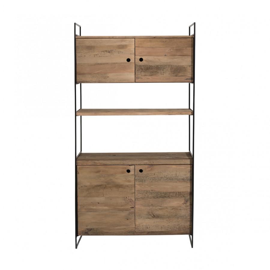 Bibliothèque 4 portes 1 égagère bois pin recyclé et métal