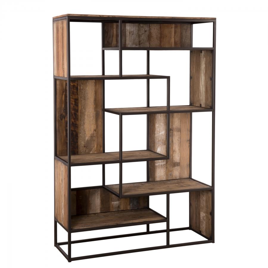 Bibliothèque 6 niveaux bois teck recyclé acacia mahogany métal